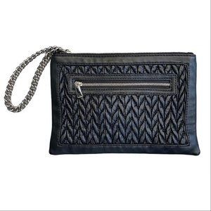 Express Black Woven Pouch with Chunky Silver Chain
